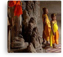 Waiting At Angkor Wat Canvas Print