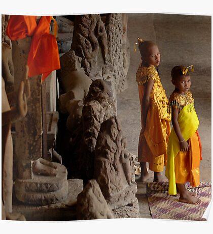 Waiting At Angkor Wat Poster