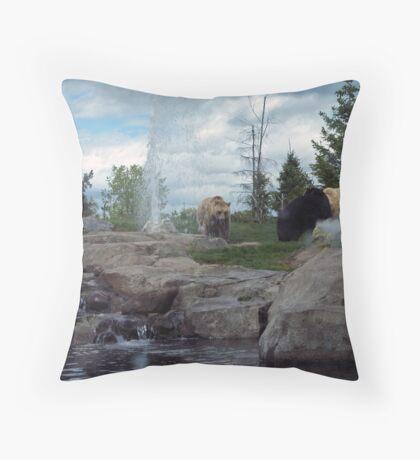 Bears With Fountain Throw Pillow