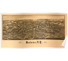 Panoramic Maps Malone NY Poster