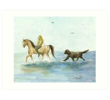 Mermaid Horse Newfoundland Dog Cathy Peek Art Print