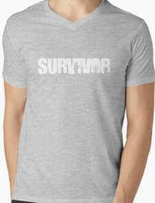 Survivor - White Ink Mens V-Neck T-Shirt