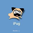 Tugg the Pug iPhone and iPod Cases (Blue) by boodapug