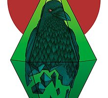 Geometric Crow in a diamond (color version) by Beatrizxe