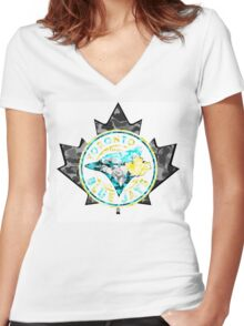 BLUE JAYS WHITE Women's Fitted V-Neck T-Shirt