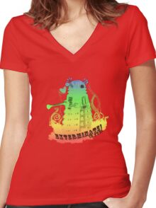 EXTERMINATE is fun! Women's Fitted V-Neck T-Shirt
