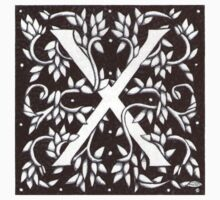 William Morris Letter X Sticker by Donna Huntriss