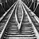 Railroad track b&w, detail Franklin, Ohio by Jason Franklin