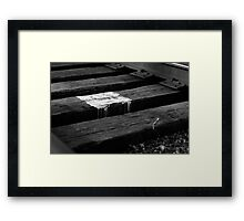 White paint spill on railroad track, Franklin, Ohio Framed Print
