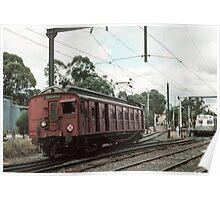 Hurstbridge red single entering Eltham Railway station 19830409 0003  Poster