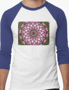 Hot pink daisy mandala Men's Baseball ¾ T-Shirt