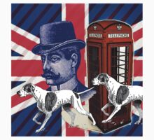 vintage mustache men british hunt dog Union jack One Piece - Long Sleeve