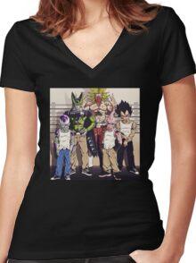 DBZ In Jail Women's Fitted V-Neck T-Shirt