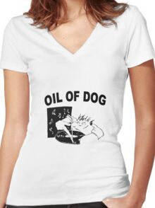 OIL OF DOG SWAG Women's Fitted V-Neck T-Shirt