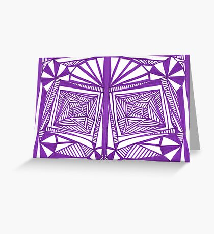 Purple Pattern Proposed 4 Picture Portal Greeting Card
