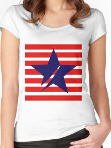 Blue Star Red Stripes Women's Fitted Scoop T-Shirt