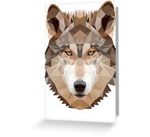 Intense Low Poly Wolf Greeting Card