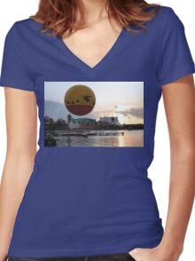 Characters In Flight Balloon Ride In Orlando, Fl Women's Fitted V-Neck T-Shirt