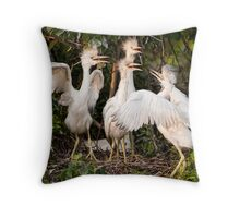 Little Blue Heron Quartet Throw Pillow