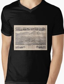 Panoramic Maps Pomona Cal Mens V-Neck T-Shirt