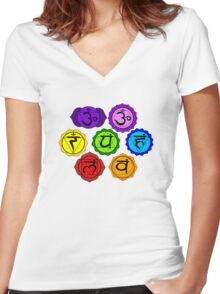 YOGA REIKI PLAIN SEVEN CHAKRA SYMBOLS TEMPLATE Women's Fitted V-Neck T-Shirt