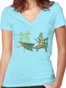 Sceptile With Grass Kanji Women's Fitted V-Neck T-Shirt