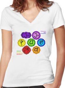 YOGA REIKI PLAIN SEVEN CHAKRAS SYMBOLS LABELED. Women's Fitted V-Neck T-Shirt