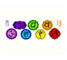 Yoga reiki seven chakra symbols labeled horizontal template. Art Print