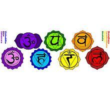 Yoga reiki seven chakra symbols labeled horizontal template. Photographic Print