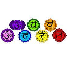 Yoga reiki seven chakra symbols horizontal template. Photographic Print