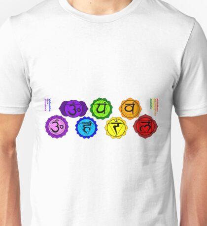 Yoga reiki seven chakras symbols labeled horizontal template. Unisex T-Shirt