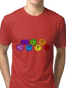 Yoga reiki seven chakras symbols horizontal template. Tri-blend T-Shirt