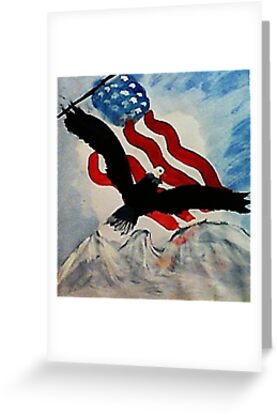 God Bless America, Happy Memorial Day, watercolor by Anna  Lewis