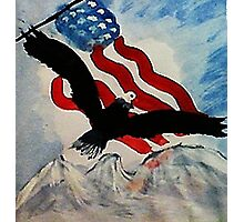 God Bless America, Happy Memorial Day, watercolor Photographic Print