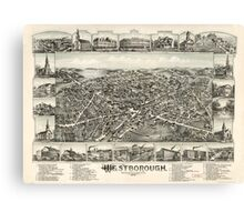 Panoramic Maps Westborough Massachusetts 1888 Canvas Print