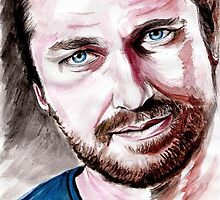 Gerard BUTLER, watercolor portrait by jos2507