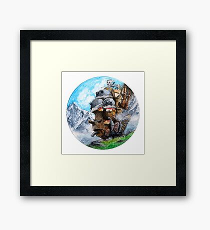 Howl's Moving Castle (Circle Scenery)  Framed Print