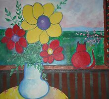 """ Spring with red cat "" Acrylic on cardboard. by domenicovignali"