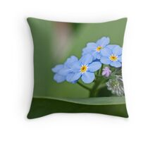 Forget-me-not on green Throw Pillow