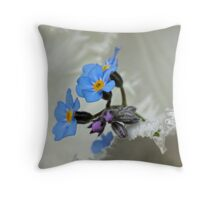 Forget-me-not on white Throw Pillow