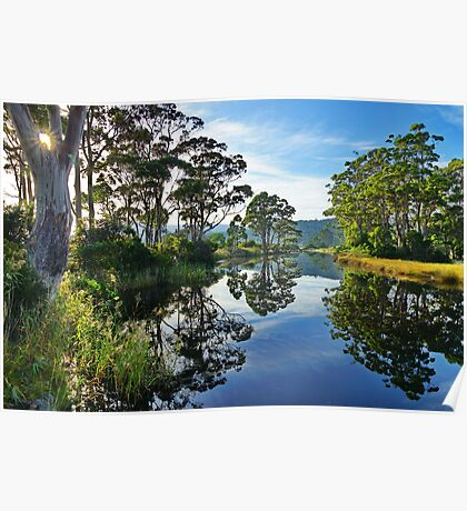 Reflections of Captain Cook Creek, Bruny Island, Tasmania Poster