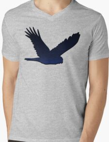 Bird Silhouette 1: Night, with Shadow Mens V-Neck T-Shirt