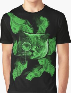 Rich Cat Burning Money Graphic T-Shirt