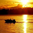 Boat And Birds On Sunset by julieapearce