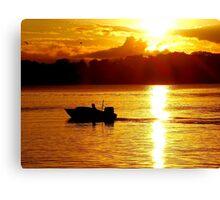 Boat And Birds On Sunset Canvas Print