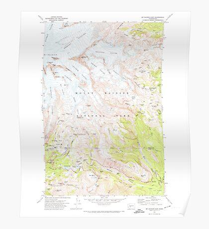 USGS Topo Map Washington State WA Mt Rainier East 242654 1971 24000 Poster