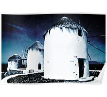 The windmills of Mykonos - textured blue Poster