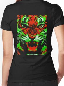 Pop Art Tiger Women's Fitted V-Neck T-Shirt