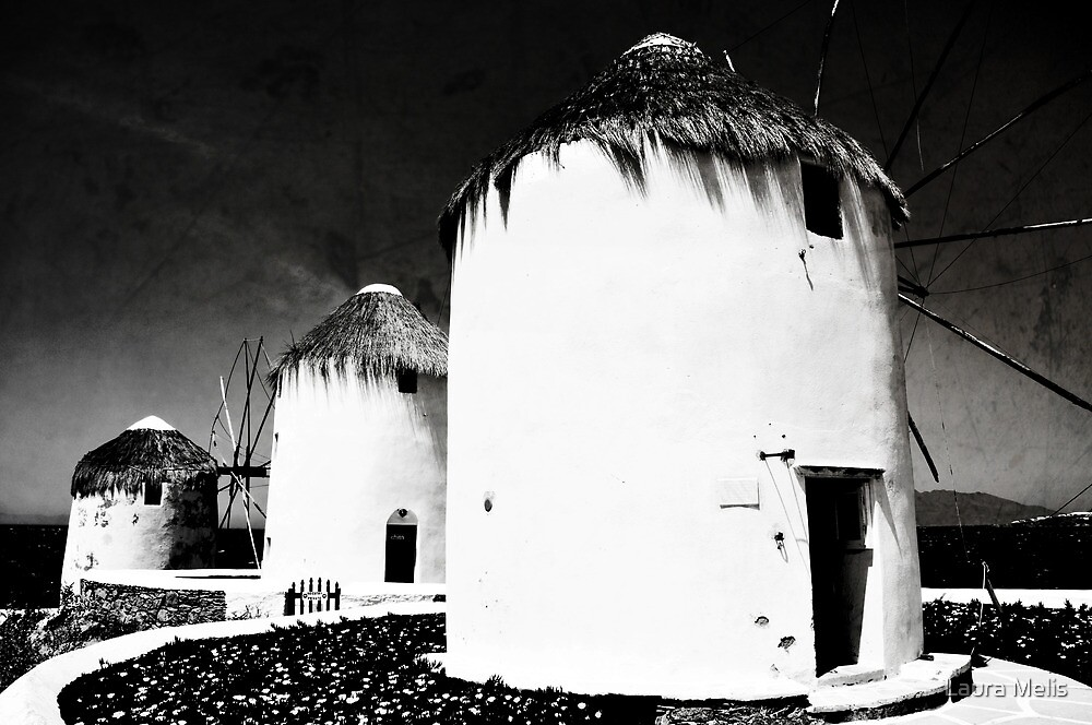 The windmills of Mykonos - textured black and white by Laura Melis