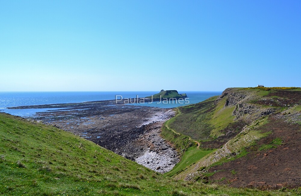 Worm's Head with causeway, Gower Peninsula by Paula J James